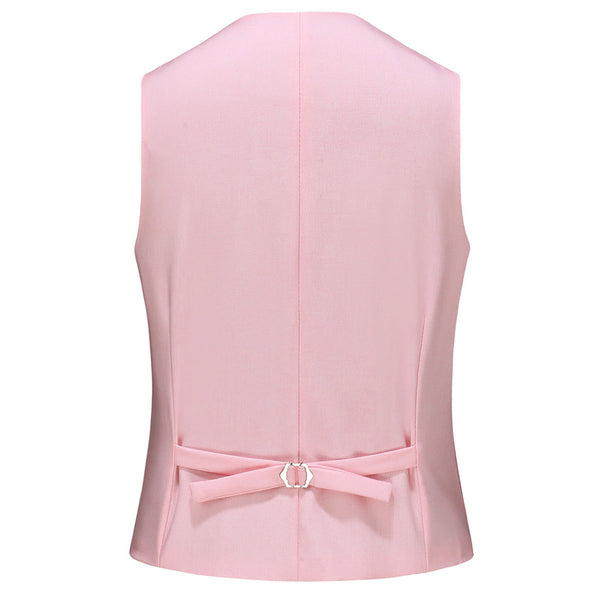 3-Piece Slim Fit Solid Color Casual Suit Pink