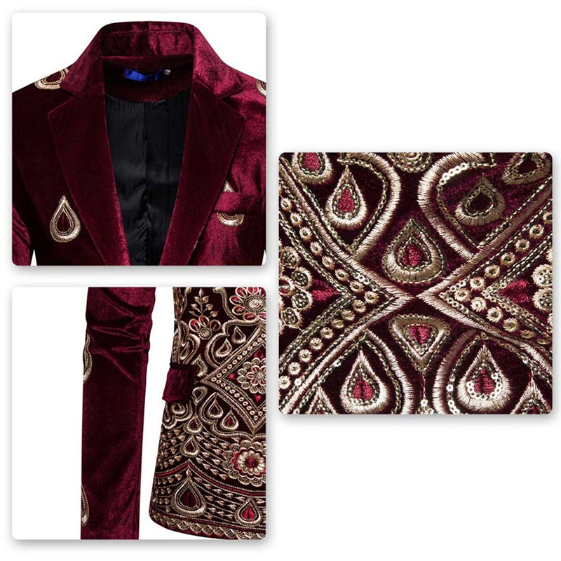 Premium Burgundy Velvet Suit Slim Fit Tuxedo Suit
