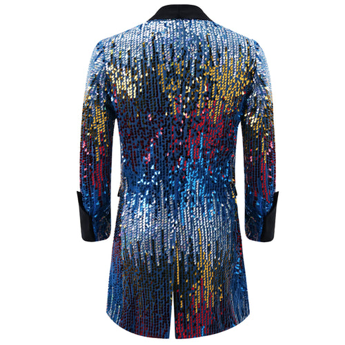 Blue Party Show Blazer Sequins Punk Jacket