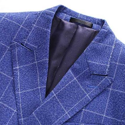 Plaid RoyalBlue Suit Three Piece Slim Fit Suit
