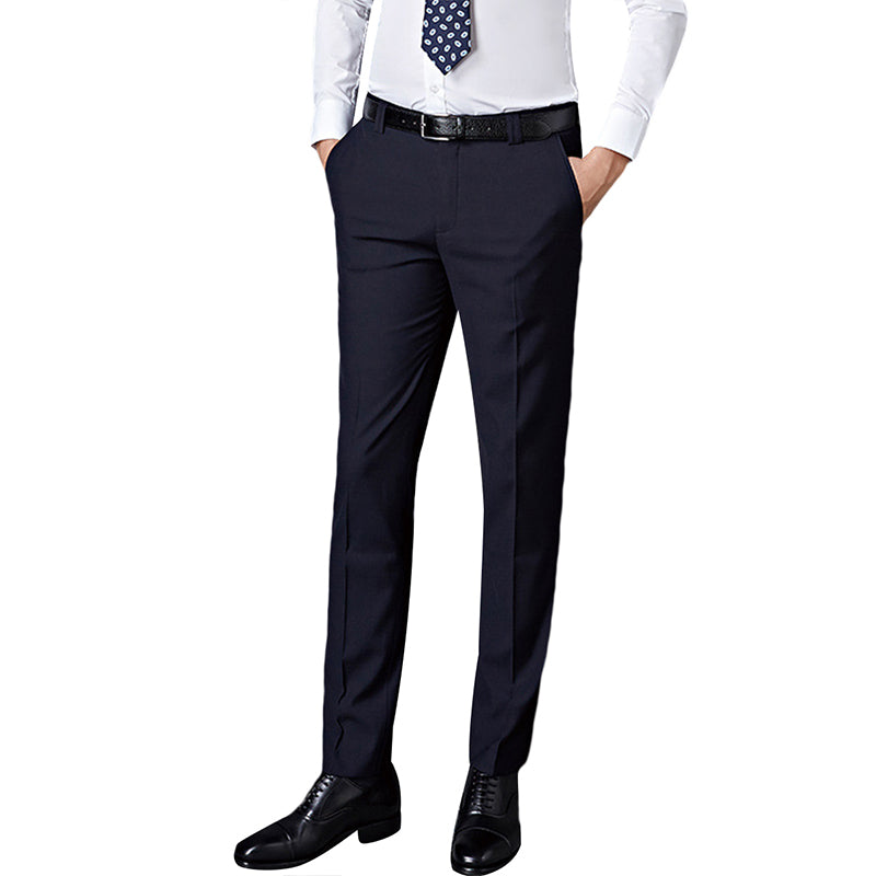 Navy Flat Front Thin Twill Suit Dress Pants