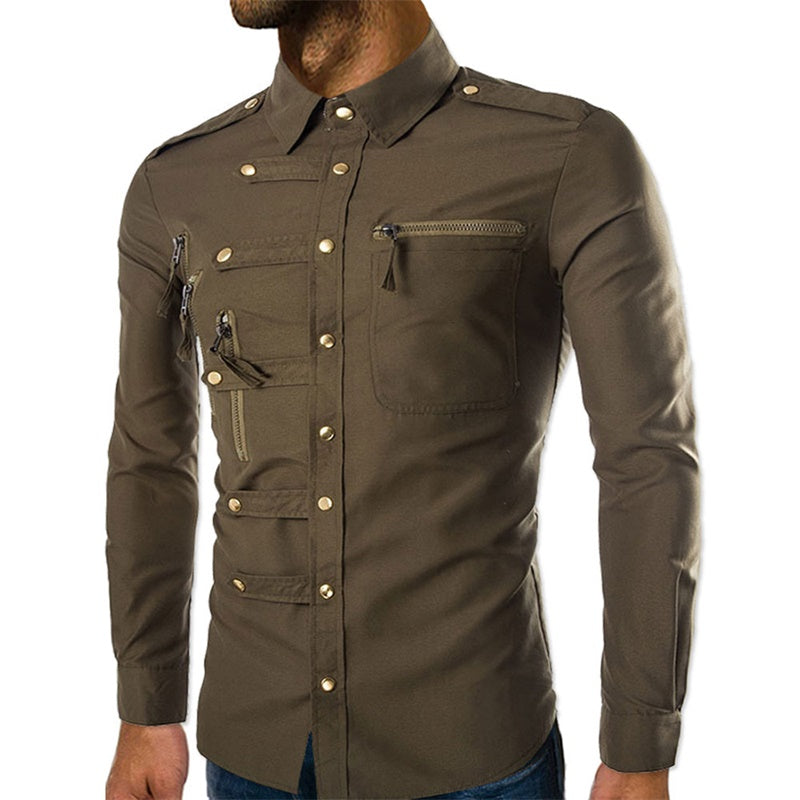 Slim Fit Zipped Pocket Shirts Brown