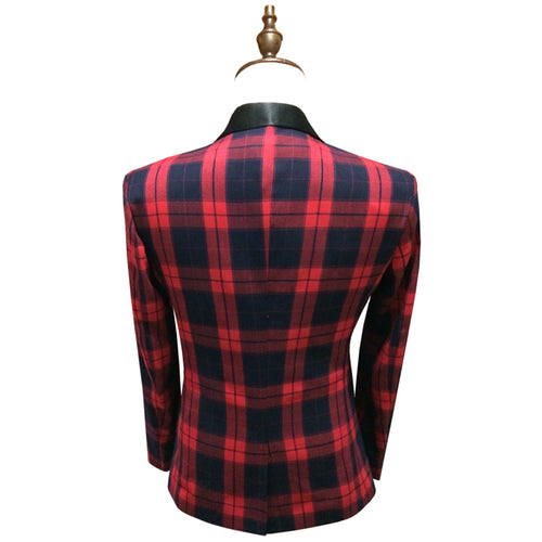 Slim Fit Plaid Blazer Red