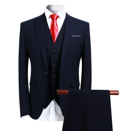 3-Piece Slim Fit One Button Fashion Suit 10 Colors