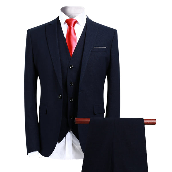 3-Piece Slim Fit Formal Suit Navy - Cloudstyle