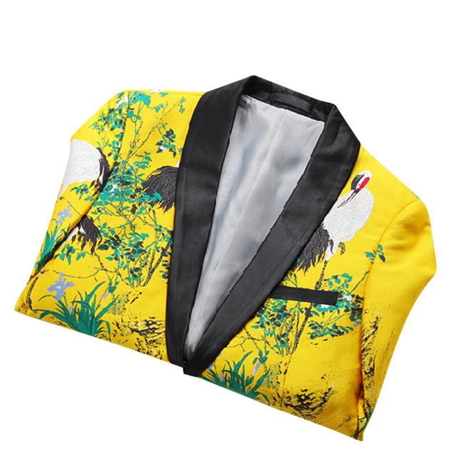 Slim Fit Dinner Blazer Yellow - Cloudstyle
