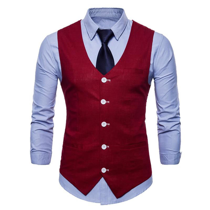 Slim Fit Skinny Dress Vest Maroon