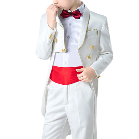 Boy's 2-Piece Two Buttons Suit White