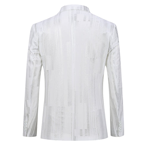 Silver Stripe Shiny Jacket Casual White Blazer