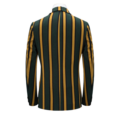3-Piece Slim Fit Casual Stripe Yellow Suit