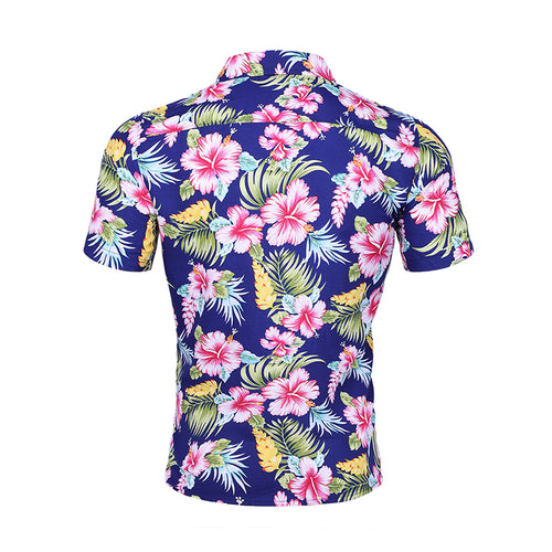 Slim Fit Floral Printed Casual Shirt Blue