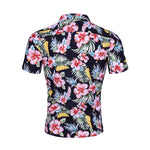 Slim Fit Floral Printed Casual Shirt Black