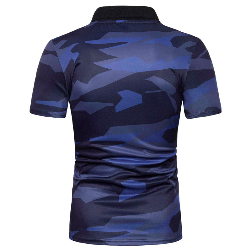 Slim Fit Camouflage Printing Polo Shirt Navy