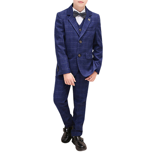 Boy's 3-Piece Plaid Suit Navy