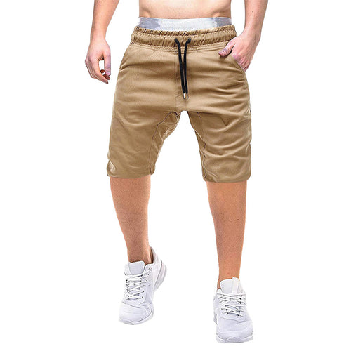 Elastic Waist Khaki Shorts Mens Casual Shorts