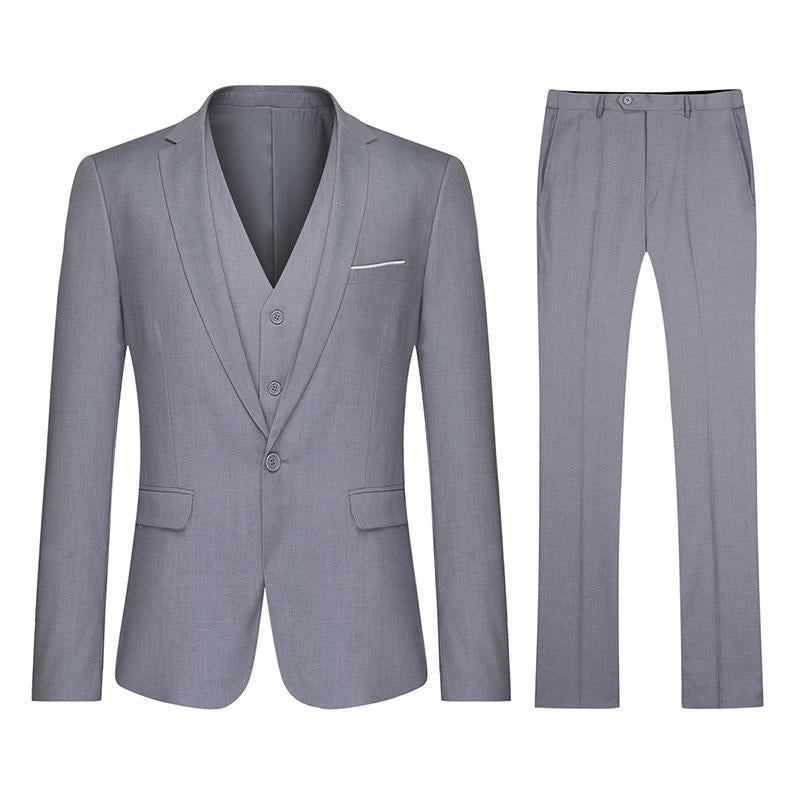 3-Piece Classic One Button Birch Silver Suit