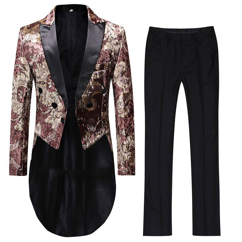 Floral Swallowtails 2-Piece Slim Fit Brown Suit