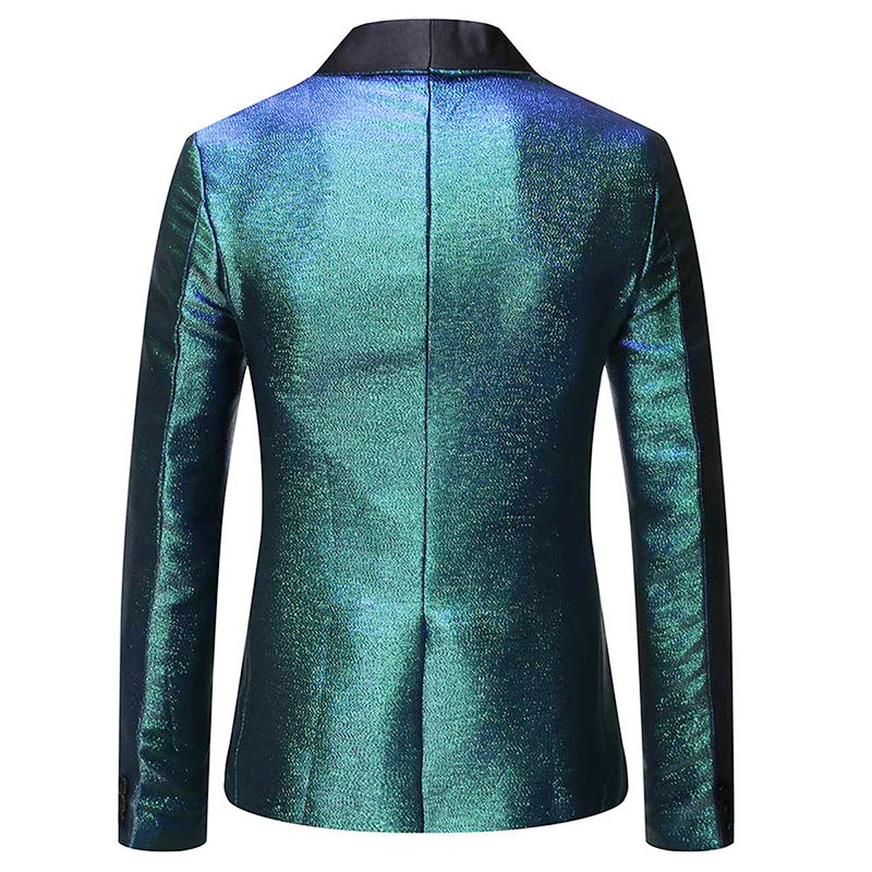 Magic Teal Tuxedo Jacket Luxury Prom Blazer