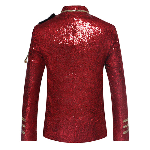 Red Costume Sequins Blazer Prom Vintage Jacket
