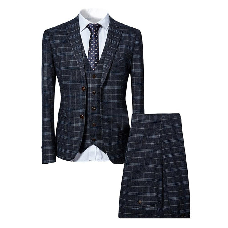 Three Piece Slim Fit Vintage Suit Plaid Black Suit