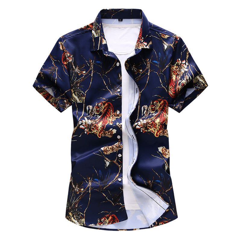 Slim Fit Printed Casual Shirt Brown