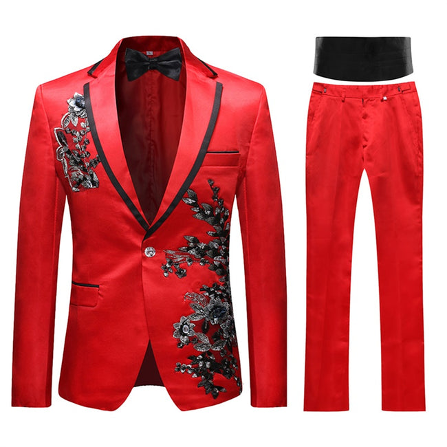 2-Piece Slim Fit Appliqued Floral Suit 3 Colors