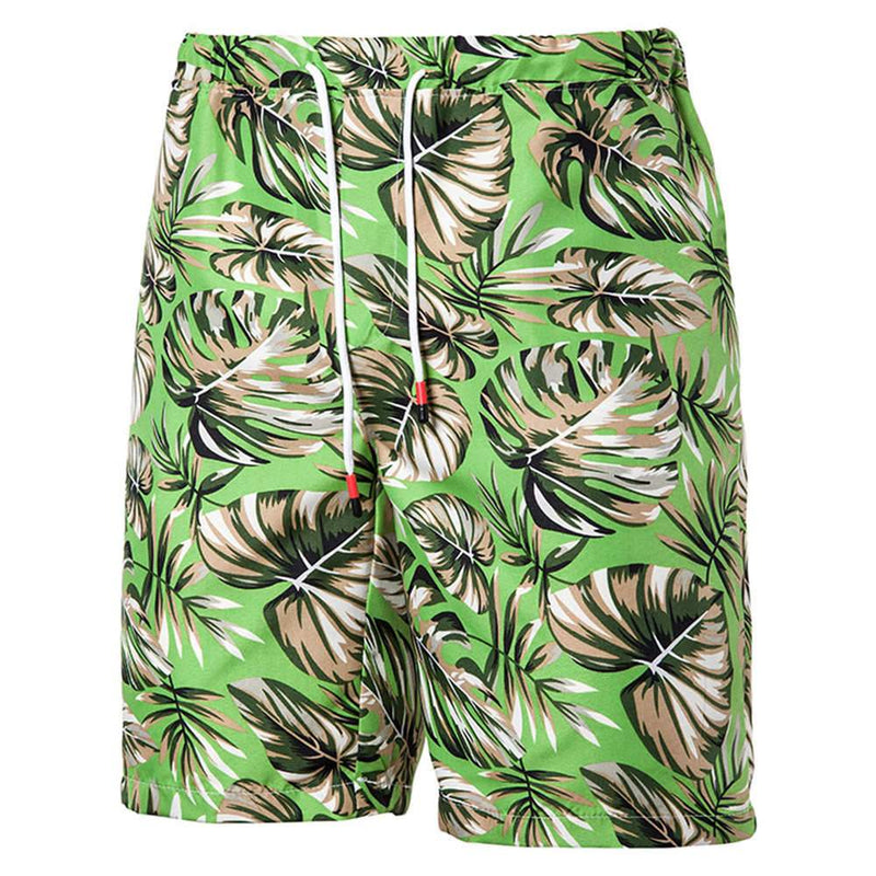 Relaxed Fit Leaf Print Shorts Green
