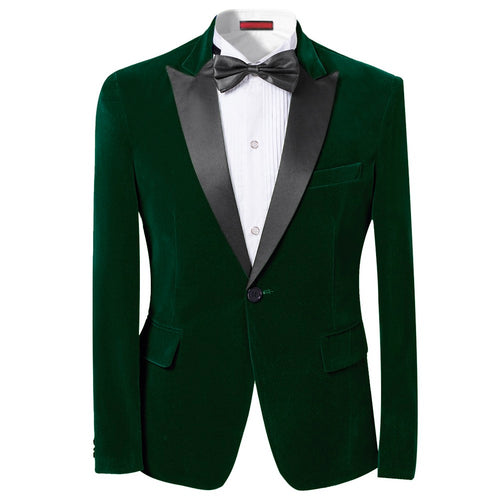Slim Fit 2-Piece Green Pleuche Tuxedo Suit