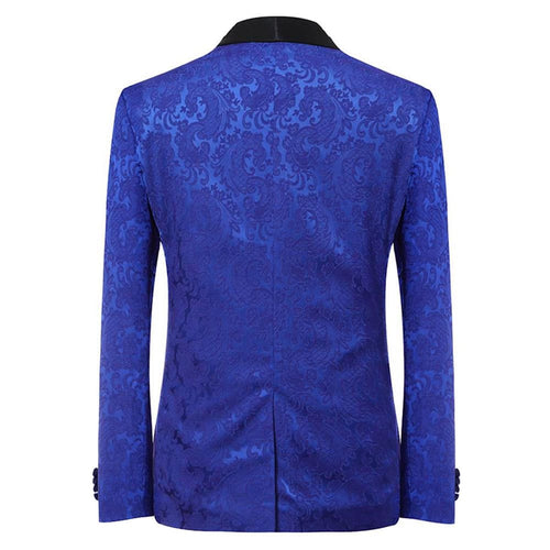 3-Piece Slim Fit Jacquard Suit Blue
