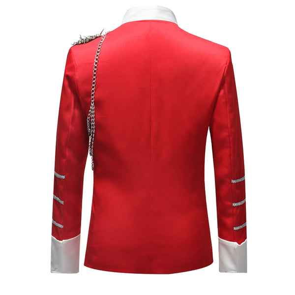 Modern Fit Coattail Blazer Red - Cloudstyle