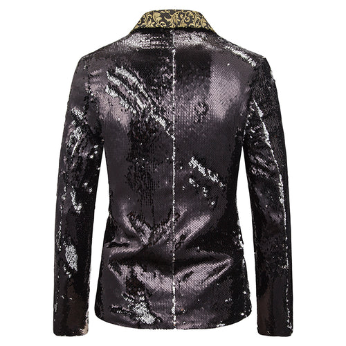 Reversible Sequin Jacket Black Casual Blazer