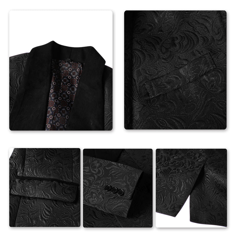 3-Piece Paisley Black Suit Shawl Collar Suit