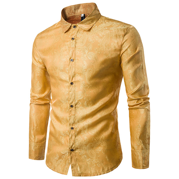 Slim Fit Embroidered Yellow Paisley Shirt