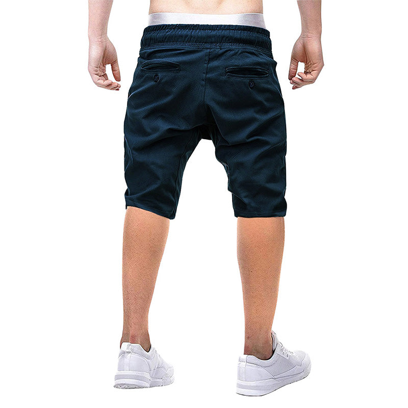 Classic Fit Elastic Waist Casual Shorts Black