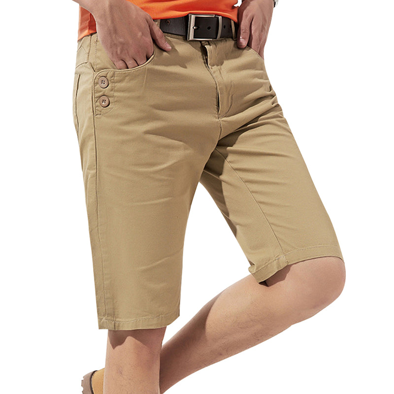 Straight Tube Shorts Mens Classic Khaki Shorts
