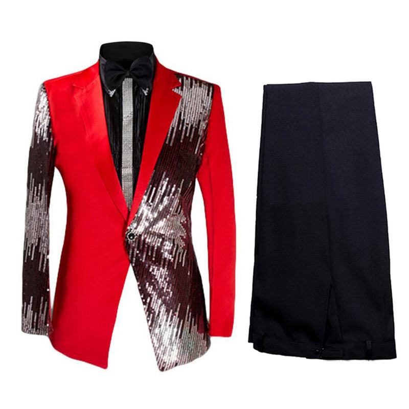 Prom Stylish Sequin Suit 2-Piece Red Suit