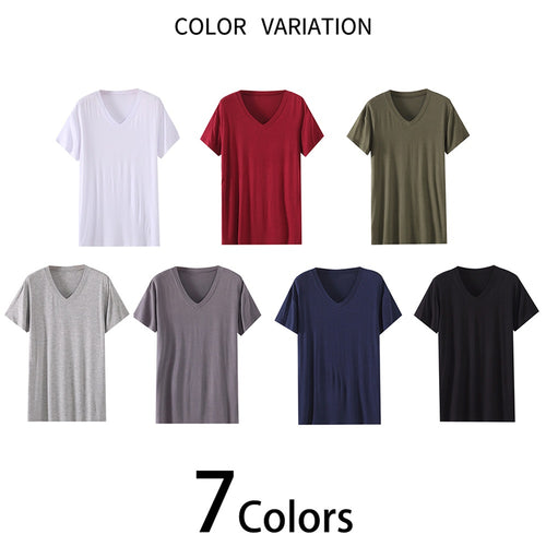 V-Neck Short Sleeve T-Shirt Modal Thin Pajamas 7 Colors