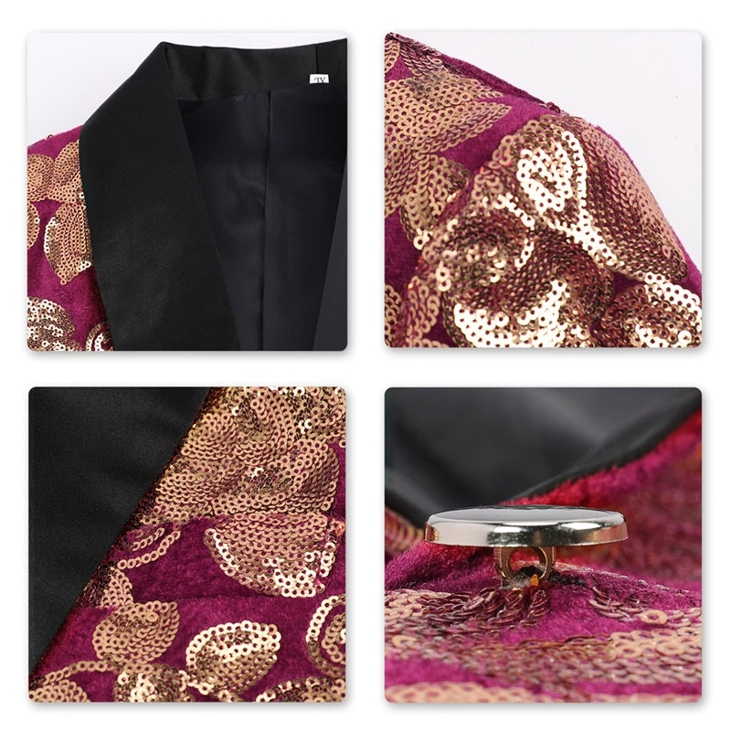 Maroon Sequin Blazer Slim Fit No Vent Blazer