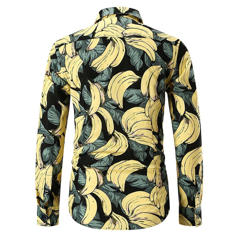 Slim Fit Banana Print Shirt Black
