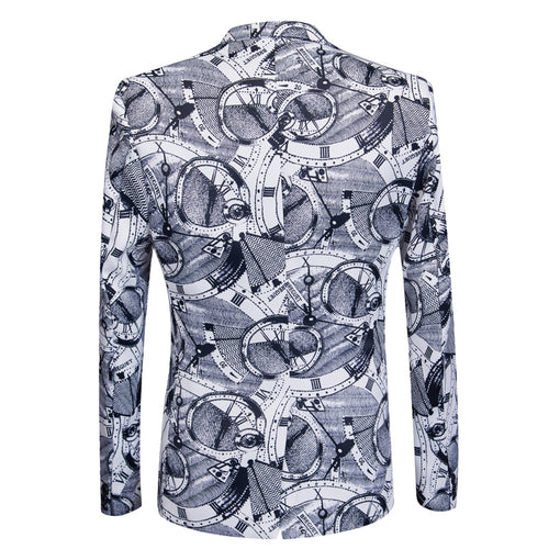 2-Piece Slim Fit Clock Print Grey Suit
