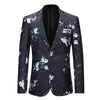 Slim Fit Floral Blazer Black