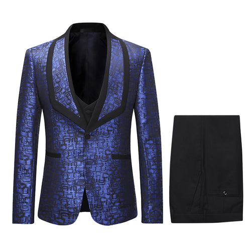 3-Piece Slim Fit Paisley Suit Blue