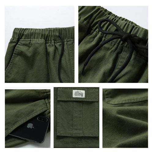 Relaxed Fit Multi-Pockets Cargo Shorts Black