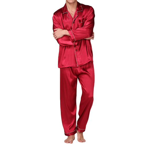 Red Silk Stain Pajama Set For Men