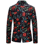 Slim Fit Rose Print Casual Blazer