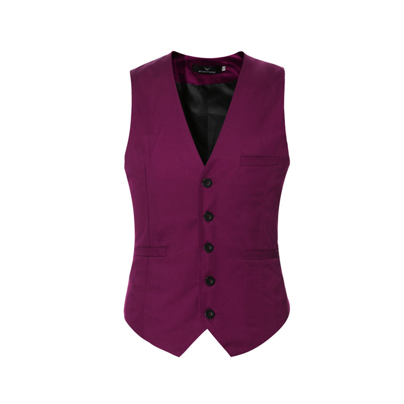 Slim Fit Solid Color Fashion Vest Maroon