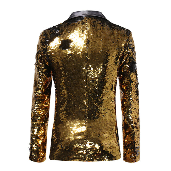 Slim Fit Sequin Blazer Gold