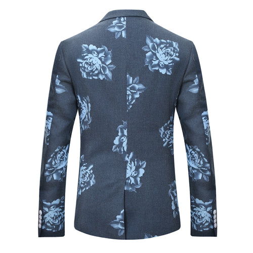 2-Piece Blue Peony Print Grey Suit