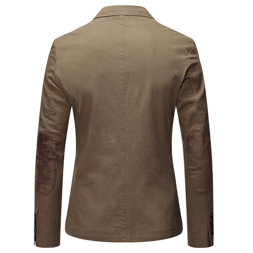 Dark Khaki Two-Button Solid Color Jacket