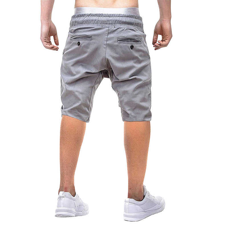 Classic Fit Elastic Waist Casual Shorts Grey